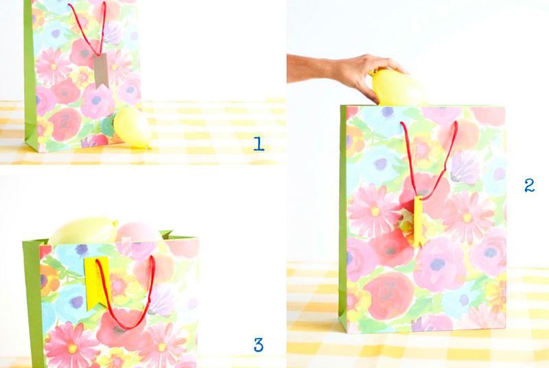 как упаковать подарок с шариками