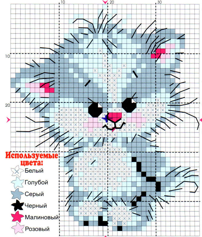 схема вышивки котенок