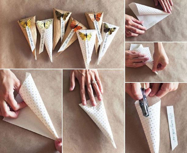 упаковка ручки в бумажный конус